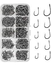 500 stks Vishaken Carbon Steel Prikkelhaken Eyed Sea Fish Haken Karper Visgerei Karper Cirkel Haken voor Saltwater Zoetwater Vissen Accessoires, No.3-No.12, 10 Maten met compartiment Box