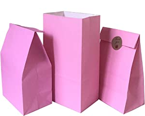Party Favor Bag 50 pcs Food Safe Paper and Ink, Natural (Biodegradable), Vivid Colored Self-Stand Buffet Bags, Bottom Square Paper Treat Bag. with 60 pcs Stickers 1.5 inch. (Pink)…