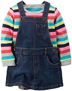 Girl L/S Striped Bodysuit and Denim Jumper Set; Multi, 12 Months