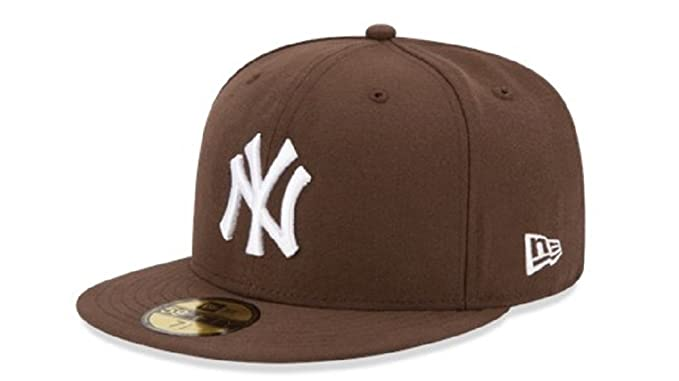 45ed706934fc3 New Era Men s 59fifty New York Yankees MLB Basic Walnut Brown Hat Cap (7 3