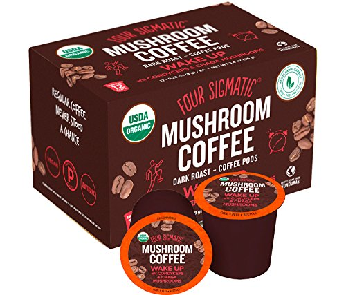 Four Sigmatic Mushroom Kcup - Organic and Fair Trade Coffee Pods with Chaga and Cordyceps Mushrooms - Vegan, Paleo - Recyclable KCups - 12 Count -