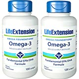 life extension fish oil omega 3 - Life Extension Omega-3 Twice as much EPA & DHA as many commercial fish oils  120 softgels PACK-2