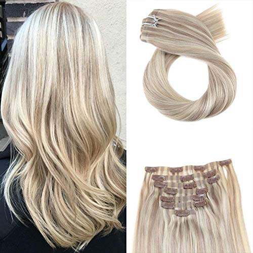 Moresoo Real Hair Clip in Extensions 20 Inch PU Hair Extensions Double Weft Clip in 120g #P18/613 Ash Blonde Highlighted with Bleach Blonde 7 Pieces