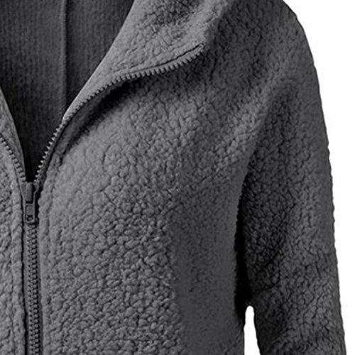con de Abrigo invierno lana Jacket Oscuro las mujeres algodón con Abrigo capucha Outwear Abrigo cremallera invierno de de Gris de IMJONO caliente de wq6xnvXatR