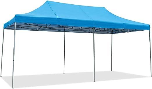 COSTWAY Carpa Plegable 6 x 3 Metros Pabellón de Jardín Altura Ajustable con Bolsa de Transporte Tienda de Campaña para Fiesta Boda Camping (Azul): Amazon.es: Jardín