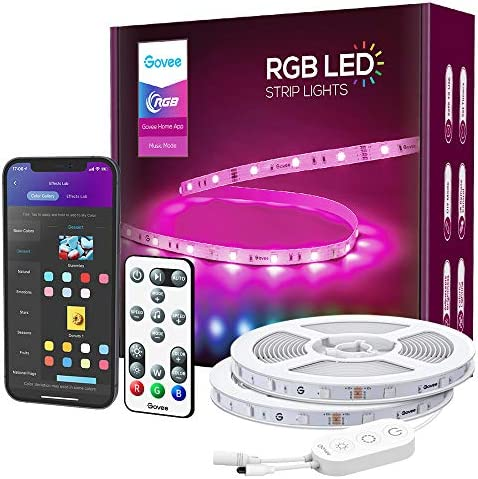 Govee Smart LED Strip Lights, 49.2ft WiFi RGB Led Lights Work with Alexa and Google Assistant, App Control Lighting Kit, Music Sync Color Changing for Bedroom, Living Room, Home, Party