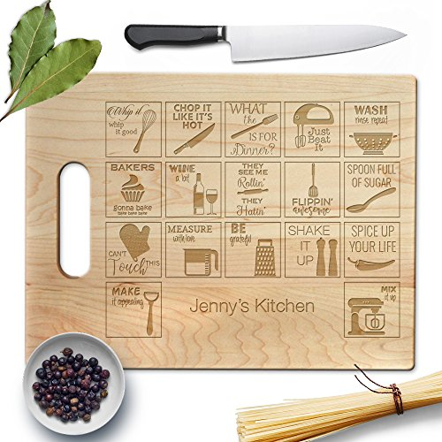 Froolu Kitchen Periodic Table natural wood cutting board for Teachers, Scientist Christmas Gifts ()