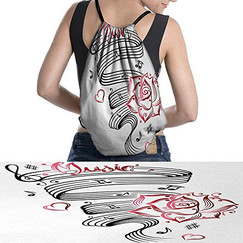 Tattoo waterproof drawstring bag Language of Love Valentines Musical Inspiration on Sheet with Rose Heartsmakeup White Black and Pink (Tattoo Inspiration Rose)