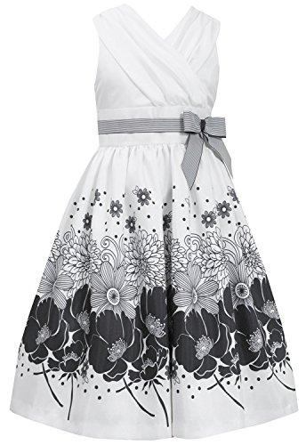 Big Girls Tween Ivory/Black Surplice Border Print Shantung Dress, Ivory, 8
