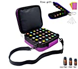 Portable 42 Bottles Essential Oils Carrying Case Shockproof Essential Oils Display Organizer Travel Bag with Key Chain Kit, Foam Insert,Shoulder Strap, Double Zipper,Holds 5ml-10ml-15ml Bottles,Purple