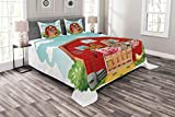 Lunarable Cartoon Bedspread Set Queen Size, Happy Farm Animals Living in Barnhouse Chicken Domestic Rural Artistic, Decorative Quilted 3 Piece Coverlet Set with 2 Pillow Shams, Seafoam Fern Green Rust