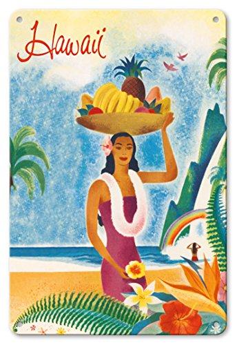Pacifica Island Art 8in x 12in Vintage Tin Sign - Hawaii - Hawaiian Visitors Travel Brochure