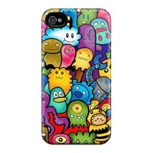 Slim Fit Tpu Protector Shock Absorbent Bumper Cute Monsters Case For Iphone 4/4s