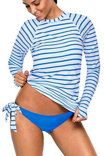 REKITA Womens Long Sleeve Rashguard Shirt Color Block Print Tankini Swimsuit (S, Stripes-Blue)