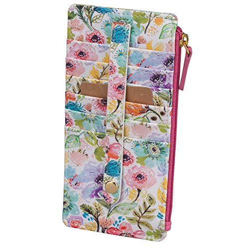 Buxton Womens Leather 3 in 1 Thin Credit Card Case Wallet/Change Purse/Id Holder (Petite Floral) ()