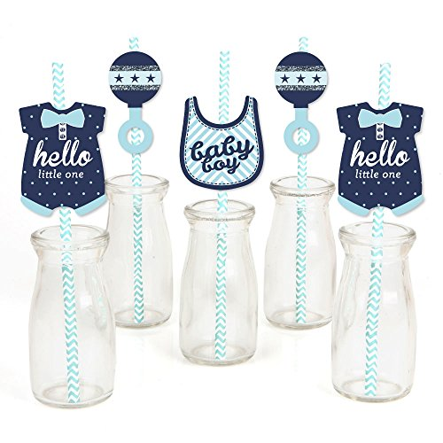 Hello Little One - Blue and Silver Paper Straw Decor - Boy Baby Shower Striped Decorative Straws - Set of 24]()