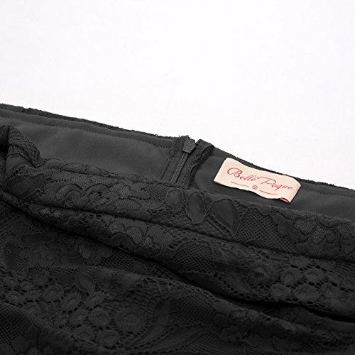 pizzo aderente Women Prom Poque 629 Vintage Lovely Elegant vestito Piccolo lunghezza Mid nero Sera 1 xz8HIqqw