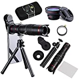 Camera Lens,BECEMURU 22X 4 in 1 Telephoto Zoom Camera Lens Kit Double Regulation HD Scale Distance FOV Phone Lens Attachment with Tripod for iPhone X/8/7/7 Plus/6s/6/5,Samsung Galaxy/Note Smartphone