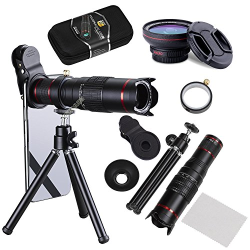Camera Lens,BECEMURU 22X 4 in 1 Telephoto Zoom Camera Lens Kit Double Regulation HD Scale Distance FOV Phone Lens Attachment with Tripod for iPhone X/8/7/7 Plus/6s/6/5,Samsung Galaxy/Note Smartphone by BECEMURU