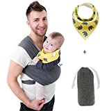 Baby Carrier for Boys and Girls by SSL – Gender Neutral Sling Wrap for Infants Suitable for Both Moms and Dads with Carry Pouch and Bandana Drool Bib – Baby Shower Gift