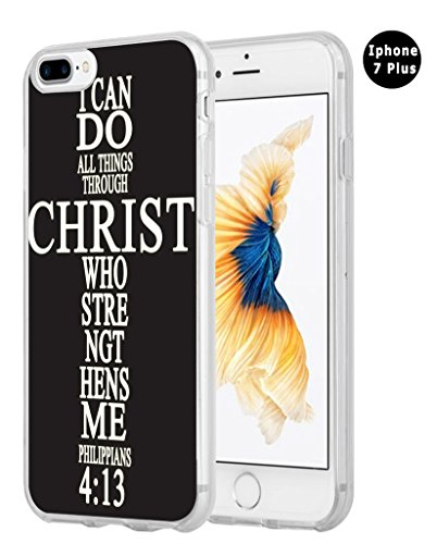 Iphone 8 Plus Case Christian Quotes,Iphone 7 Plus Case, Apple Iphone 7/8 Plus Cover Soft Tpu Silicone Protective Bible Verses Theme I Can Do All Things Through Christ Who Strengthens - Cheap Guy