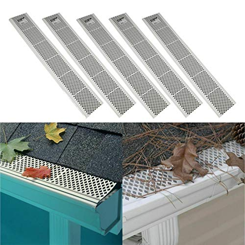 AE Market 5 Pack SNAP-in White Gutter Guard Cover 3ft Screen Filter Leaf Debris Protection