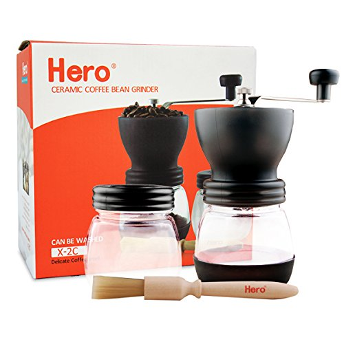 (Hero Manual Coffee Grinder-Conical Ceramic Burr Mill,Adjustable Hand Precision Brewing, Black)