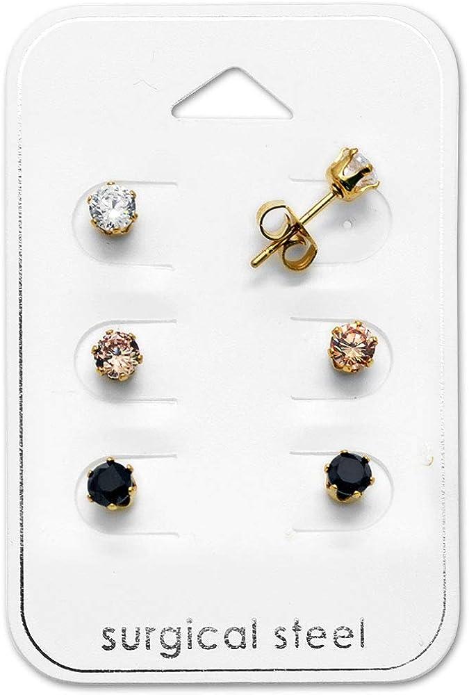 Katy Craig, juego de 3 pares, acero inoxidable dorado con circonita cúbica, pendientes negro, transparente y rosa