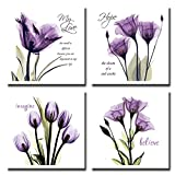 Laundry Room Artwork Spirit Up Art 4Pcs/Sets Huge Modern Giclee Prints Framed Artwork Love Hope Imagine and Believe Purple Flowers Pictures Photo Paintings Print on Canvas, Wall Art for Home Walls Decor, Ready to Hang