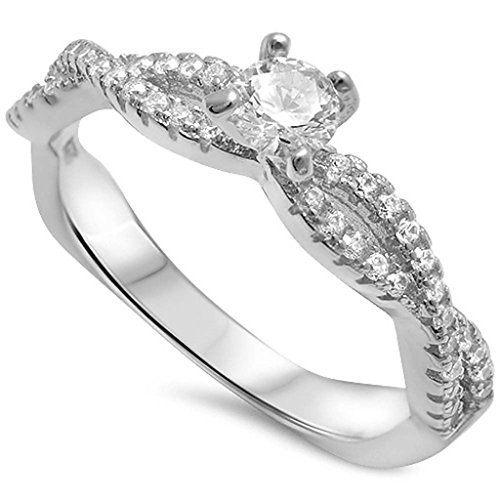 Solitaire Infinity Accent Wedding Engagement Ring Round White - Twisted Wedding Ring
