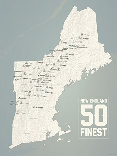 New England Fifty Finest Map Poster Beige & Slate
