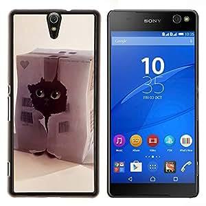 EJOOY---Cubierta de la caja de protección para la piel dura ** Sony Xperia C5 Ultra ** --Gato divertido lindo