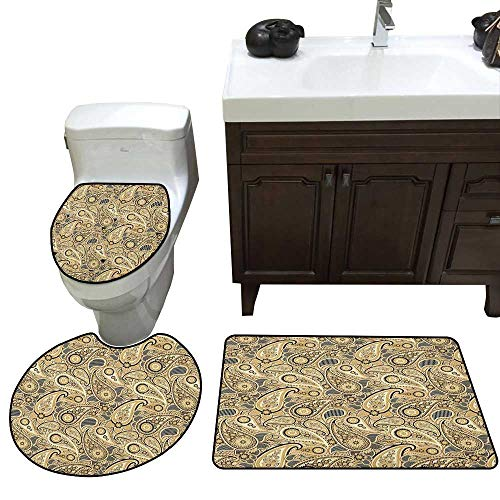 Earth Tones Bathroom Rug Set Iranian Pattern Based on Traditional Asian Paisley Welsh Pears bathmat Toilet mat Set Sand Brown Black Beige