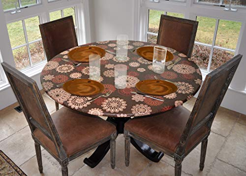 - Covers For The Home Deluxe Elastic Edged Flannel Backed Vinyl Fitted Table Cover - Medallion Pattern - Small Round - Fits Tables up to 44