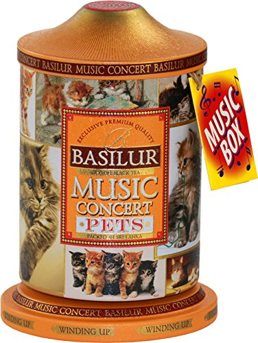 Concert Tea - Basilur   Pets Music Tin   Music Concert Collection   Pure Ceylon Black Tea with mango, pineapple, strawberry, and cream   Metal Caddy   20 Pyramid Tea Bags   Gift of Tea   Pack of 1