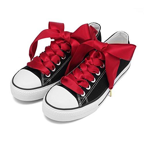Rosso Solide Reebok modo Leale ZORESS Satin Donne Adidas per di Trainers VANS Converse Scarpe Nike Puma per Lacci qw01TR