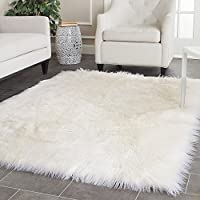 White Fux Sheepskin Rug Fur Blanket Area Shag Rug (8X10)
