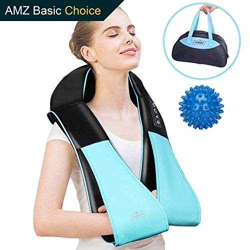 Handheld Shiatsu Neck & Back Massager with Heat, 3D Electric Deep Tissue Kneading Self Massager for Neck-Back Shoulder Waite Arm Leg Upper Down - Foot Massage Ball for Full Body Muscle Pain Portable