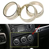 3pcs Audio Air Conditioning Button Cover Decoration Twist Switch Ring Trim for Jeep Wrangler JK JKU Compass Patriot 2011-2016 (Apple Golden)