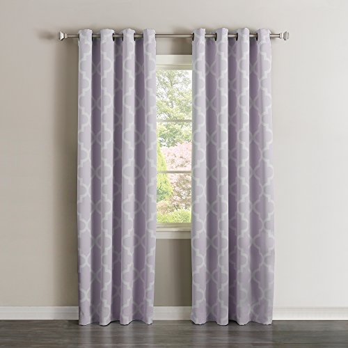 "Best Home Fashion Room Darkening Moroccan Print Curtains – Antique Bronze Grommet Top – Lilac – 52""W x 84""L – (Set of 2 Panels)"