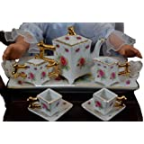 The Queen's Treasures Pink Rose Miniature Porcelain Fine China Doll Tea Set Fits American Girl Dolls