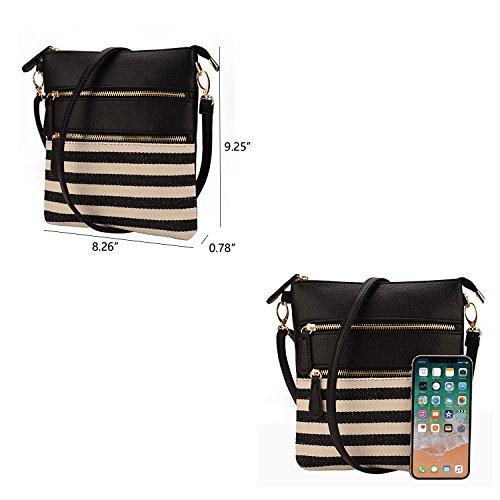 Crossbody leahter handbag patchwork shoulder Black bag Women Canvas bag JIARUO Stripe Small 8pOc1Y1