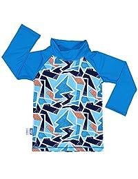 Baby Rash Guard UPF 50 Sun Protection Shirt (Shirt S: 0 - 6m, iceberg)