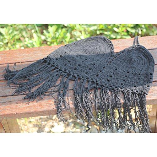 Juleya Las mujeres florales bordados de encaje de ganchillo cubrir la parte superior del chaleco bralet Negro