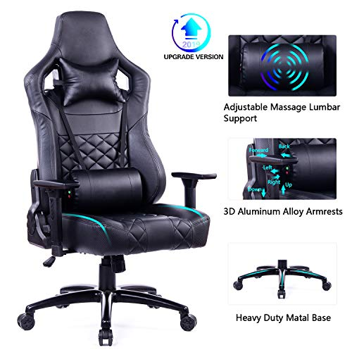 Blue Whale Big and Tall 400lb Massage Gaming Chair with Metal Base-Aluminum Alloy 3D Armrests,Ergonomic PC Computer Reclining PU Leather Office Desk Chair BW-261 Black