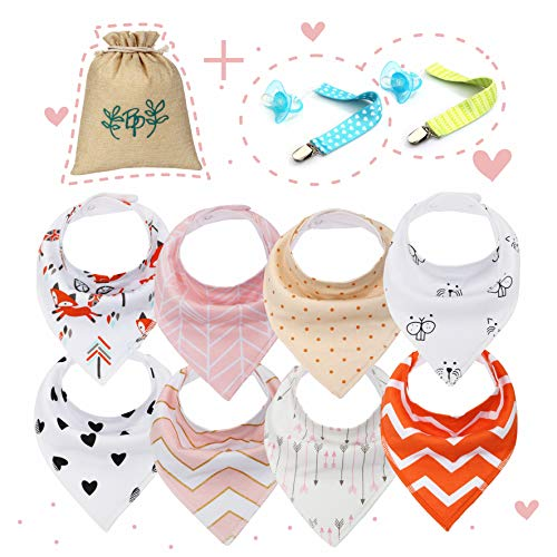 Baby Bandana Drool Bibs Unisex for Boy Girls with Snaps [8-Pack Set] Bandana for Drooling Absorbent, Hypoallergenic & Organic 100% Cotton Baby Bibs - Infant Bib Kidding