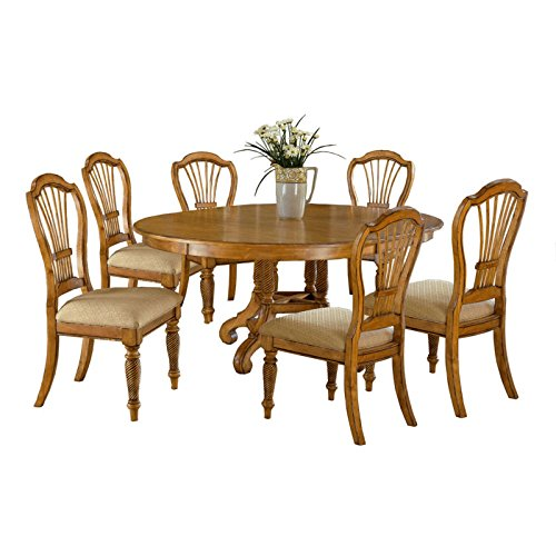 7-Piece Round Dining Set in Antique Pine