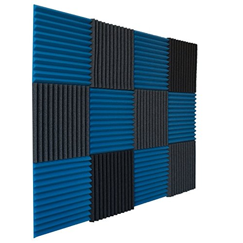 12 Pack- Ice Blue/Charcoal Acoustic Panels Studio Foam Wedges 1' X 12' X 12'