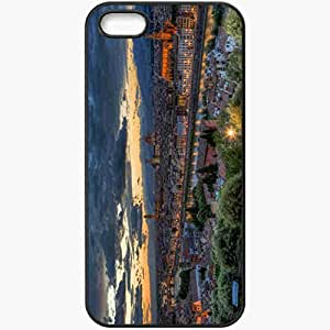 Protective Case Back Cover For iPhone 5 5S Case Evening Sunset Panorama Italy Tuscany Florence Black