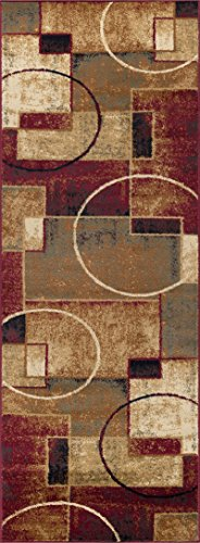Andrew Contemporary Abstract Multi-Color Runner Rug, 2.7' x 7'